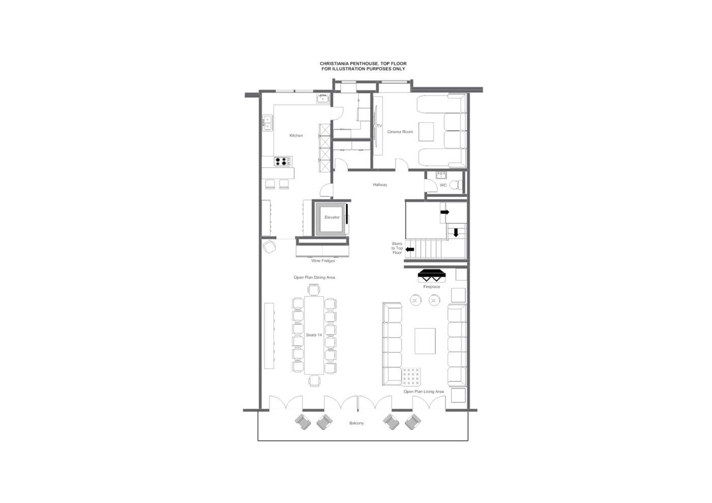 Christiania Penthouse floor plans, Zermatt.