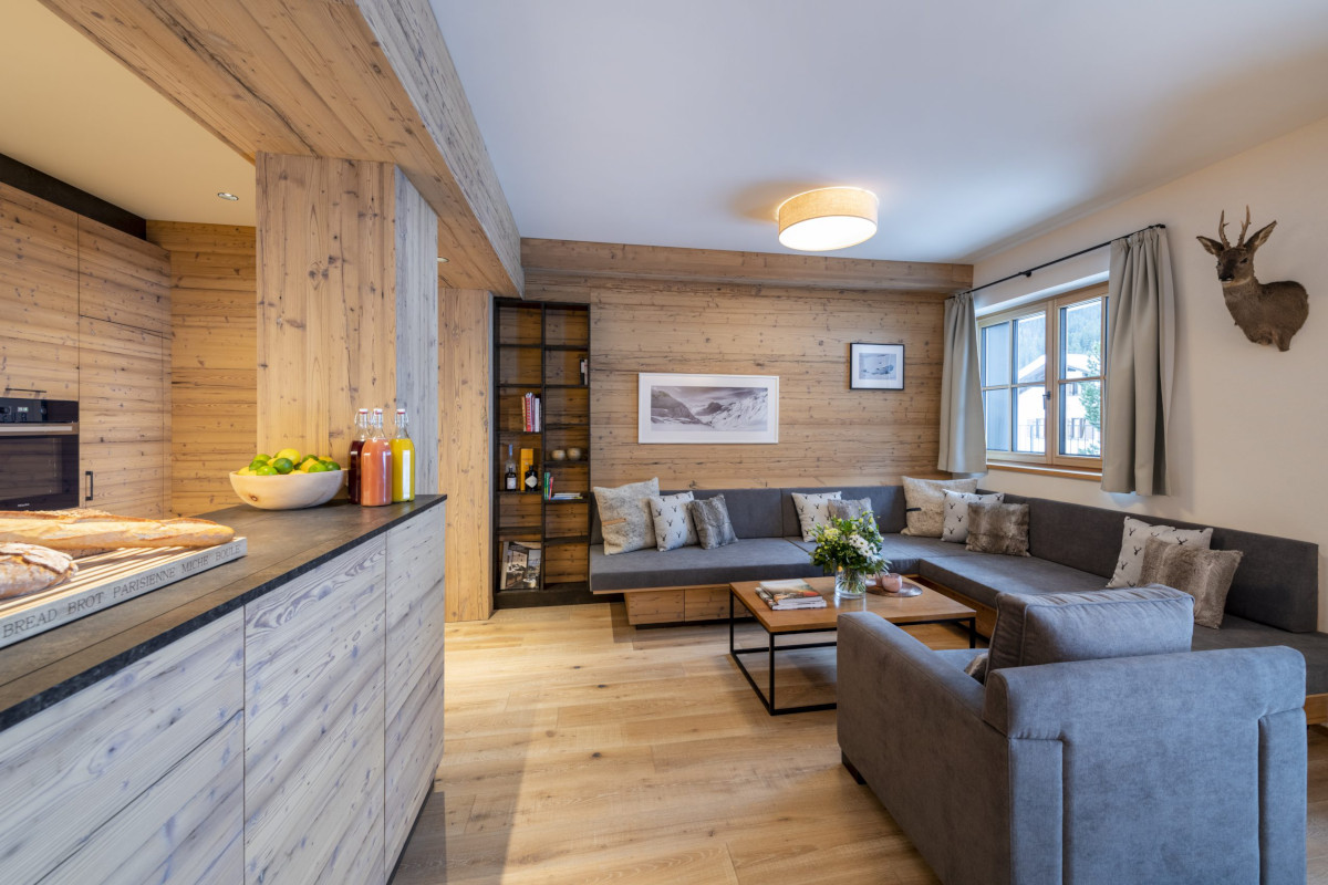 Kitchen view of lounge seating at Apartment Brunnenhof 1 in Lech