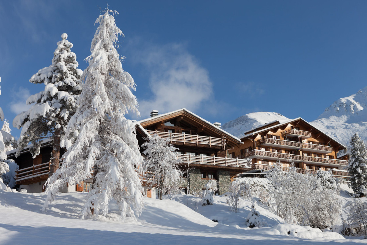 Exterior mountain in winter with Atlas ski off piste in background at Chalet 1936 in Verbier