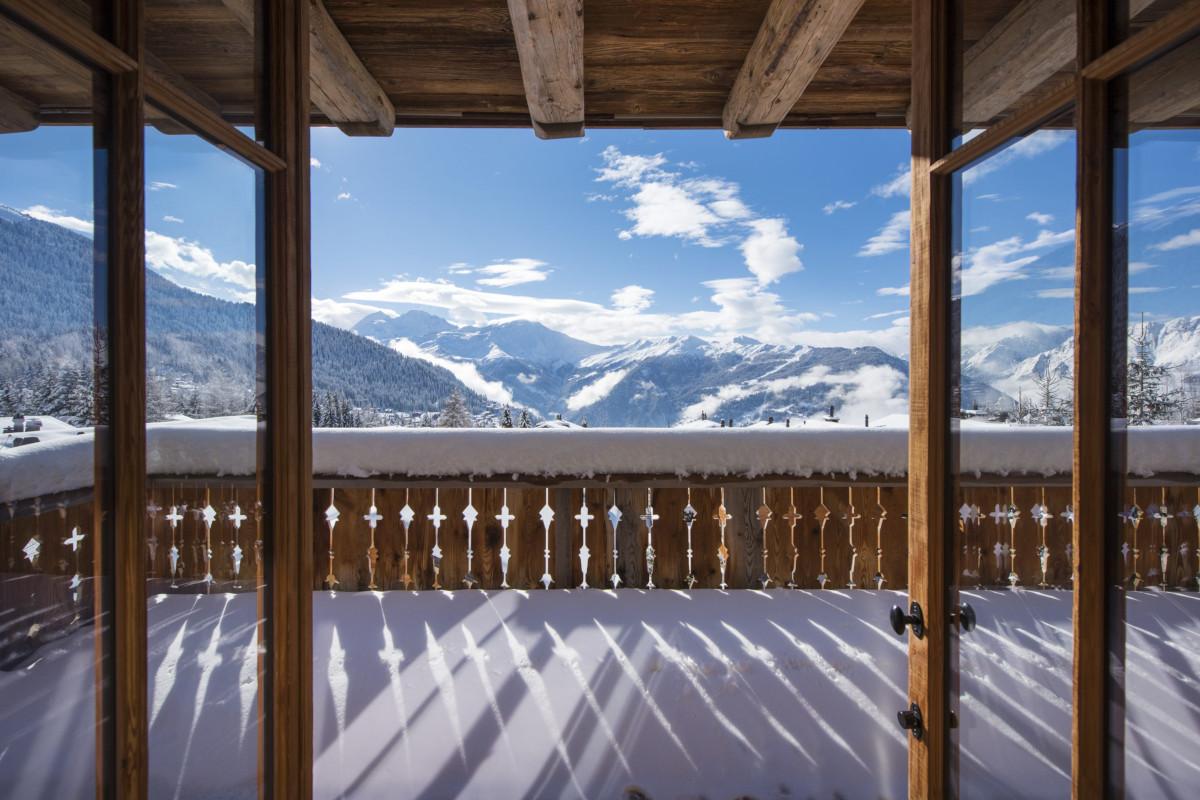 Terrace views in winter Chalet Aline in Verbier