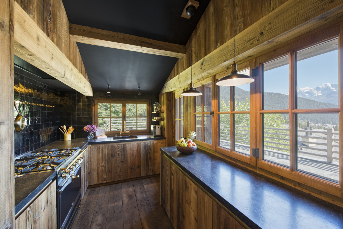 Kitchen with fabulous views at Chalet Aline in Verbier