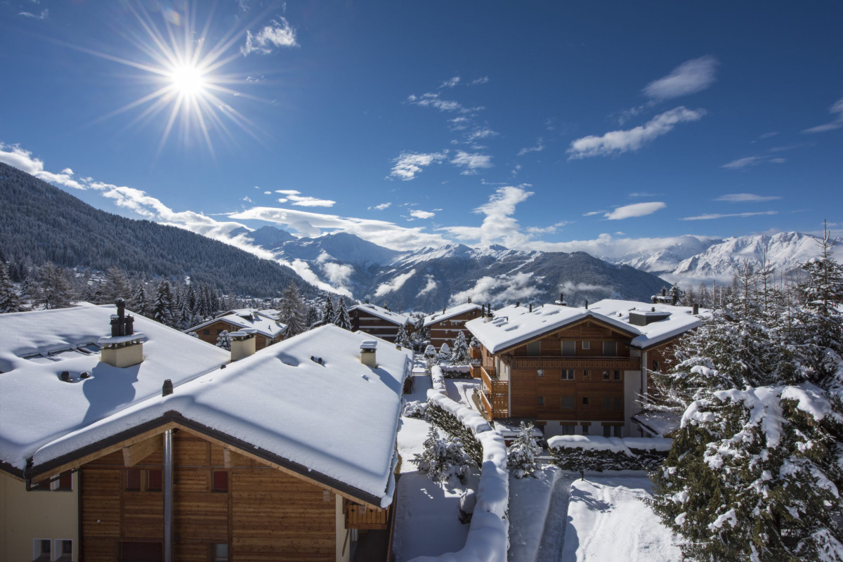 Winter mountain views of Grand Clambin Massif at Chalet Aline in Verbier