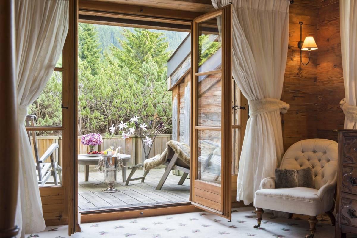 Master bedroom private balcony at Bella Coola Estate in Verbier