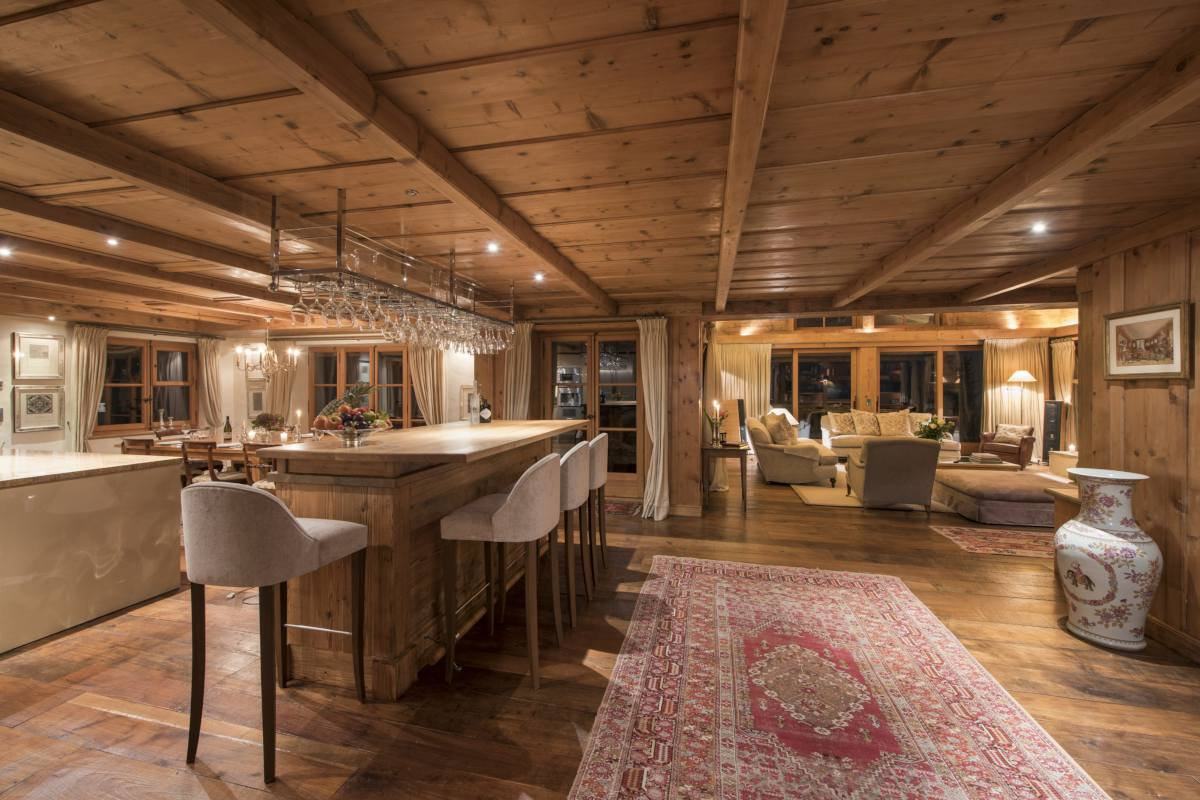 View into open-plan living area at Bella Coola Estate in Verbier