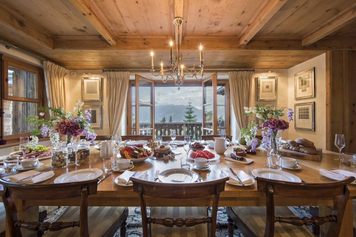 Table set for breakfast at Chalet Bella Coola in Verbier