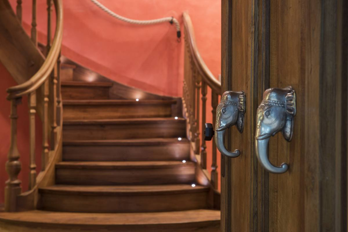 Entrance staircase at Chalet Bella Coola in Verbier