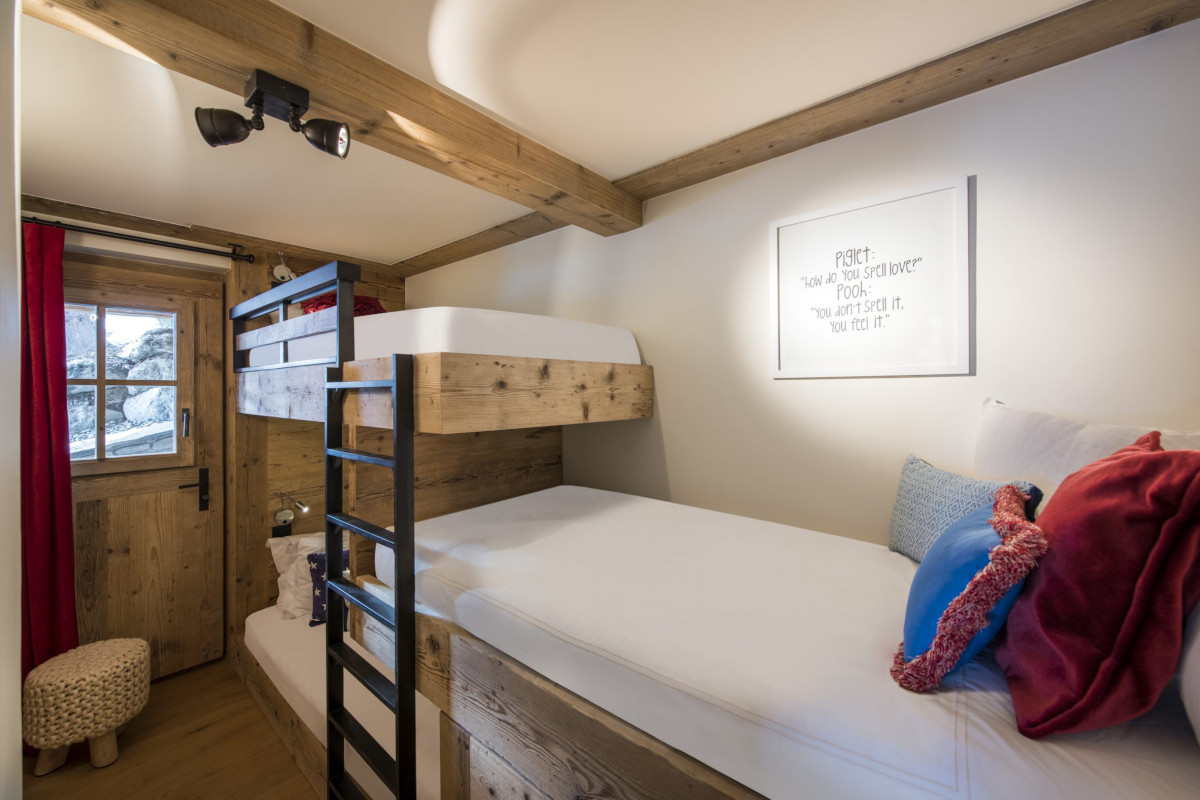 Bunk bed in family room at Chalet Bioley in Verbier