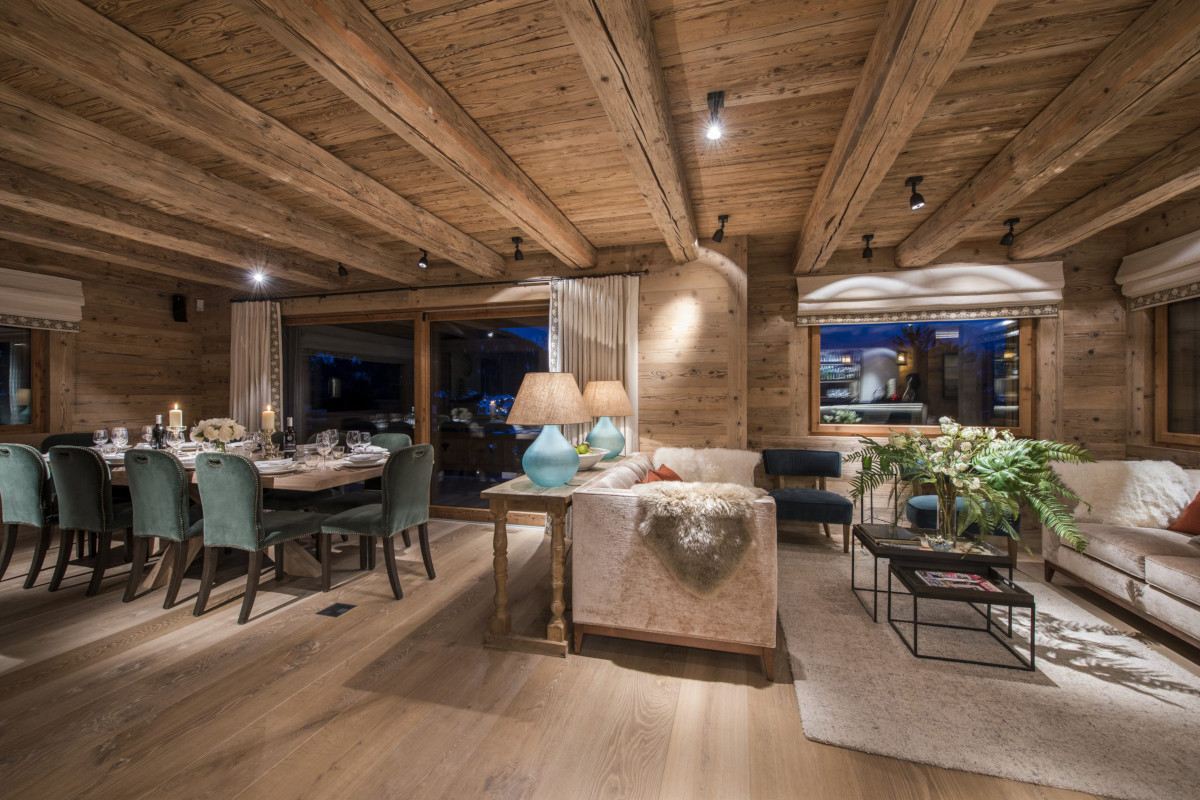 Dining and lounge space at Chalet Bioley in Verbier