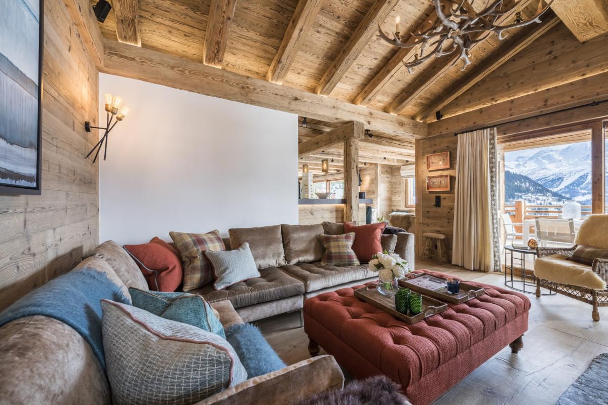 Lounge room views at Chalet Bioley in Verbier