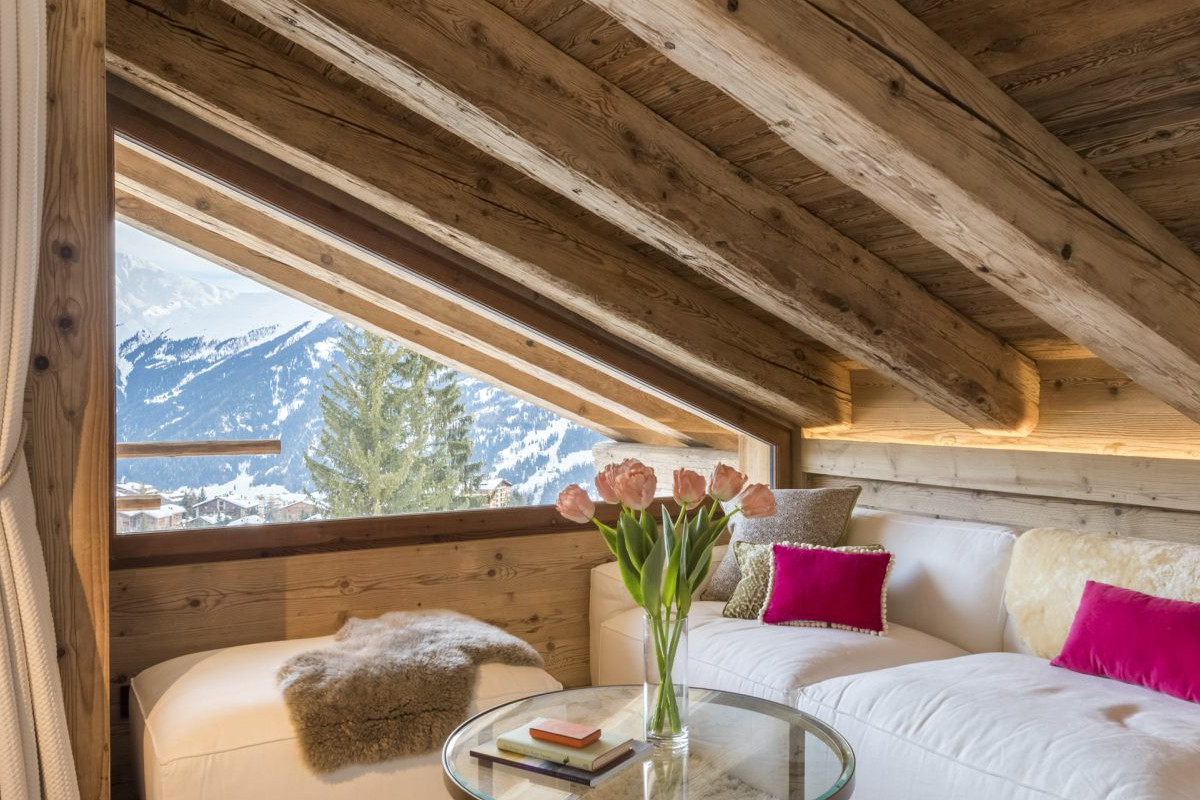 Master suite relaxation area at Chalet Bioley in Verbier