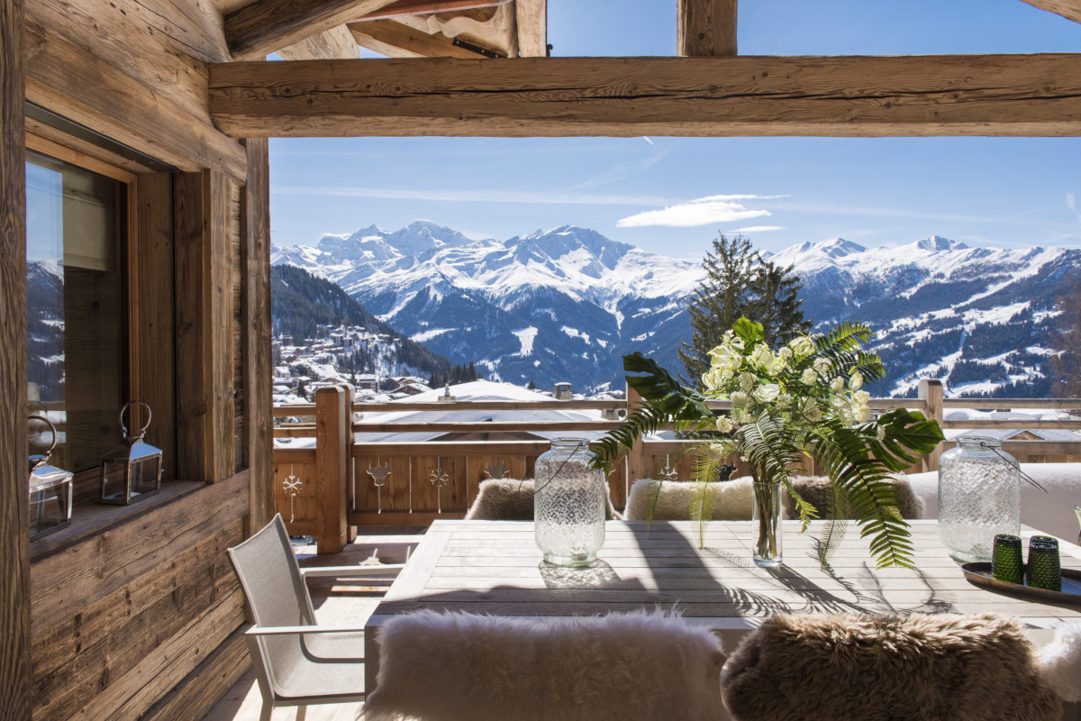 Exterior dining views of Grand Clambin Massif at Chalet Bioley in Verbier