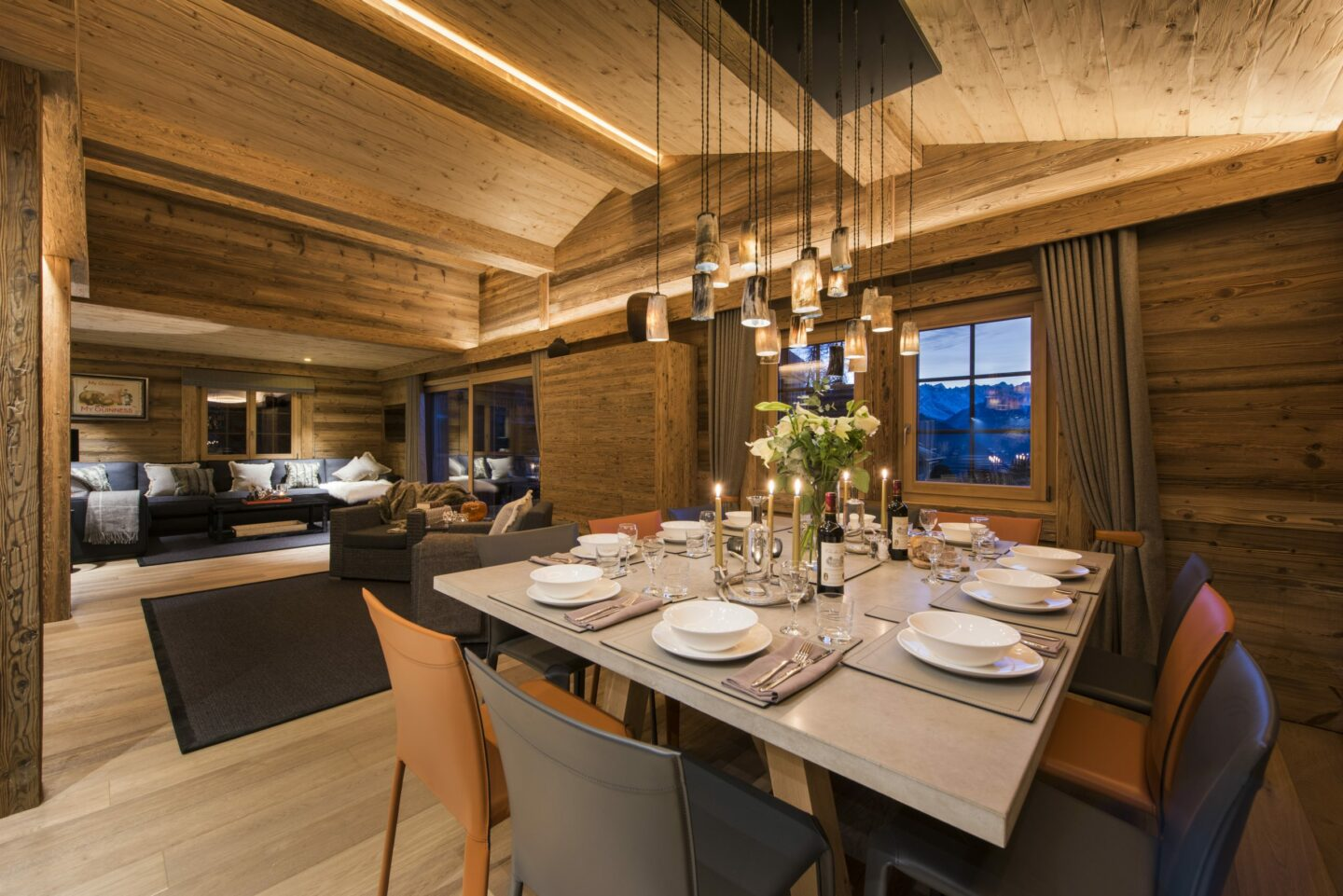 Dining table set for the evening at Chalet Daphne in Verbier