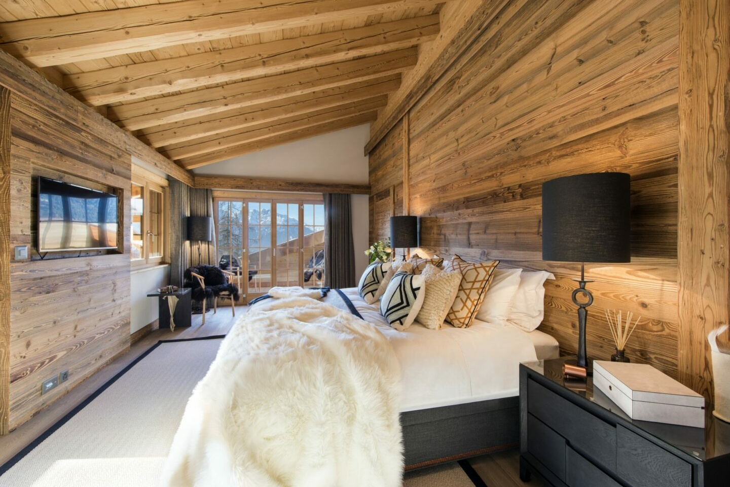 Master ensuite bedroom at Chalet Daphne in Verbier