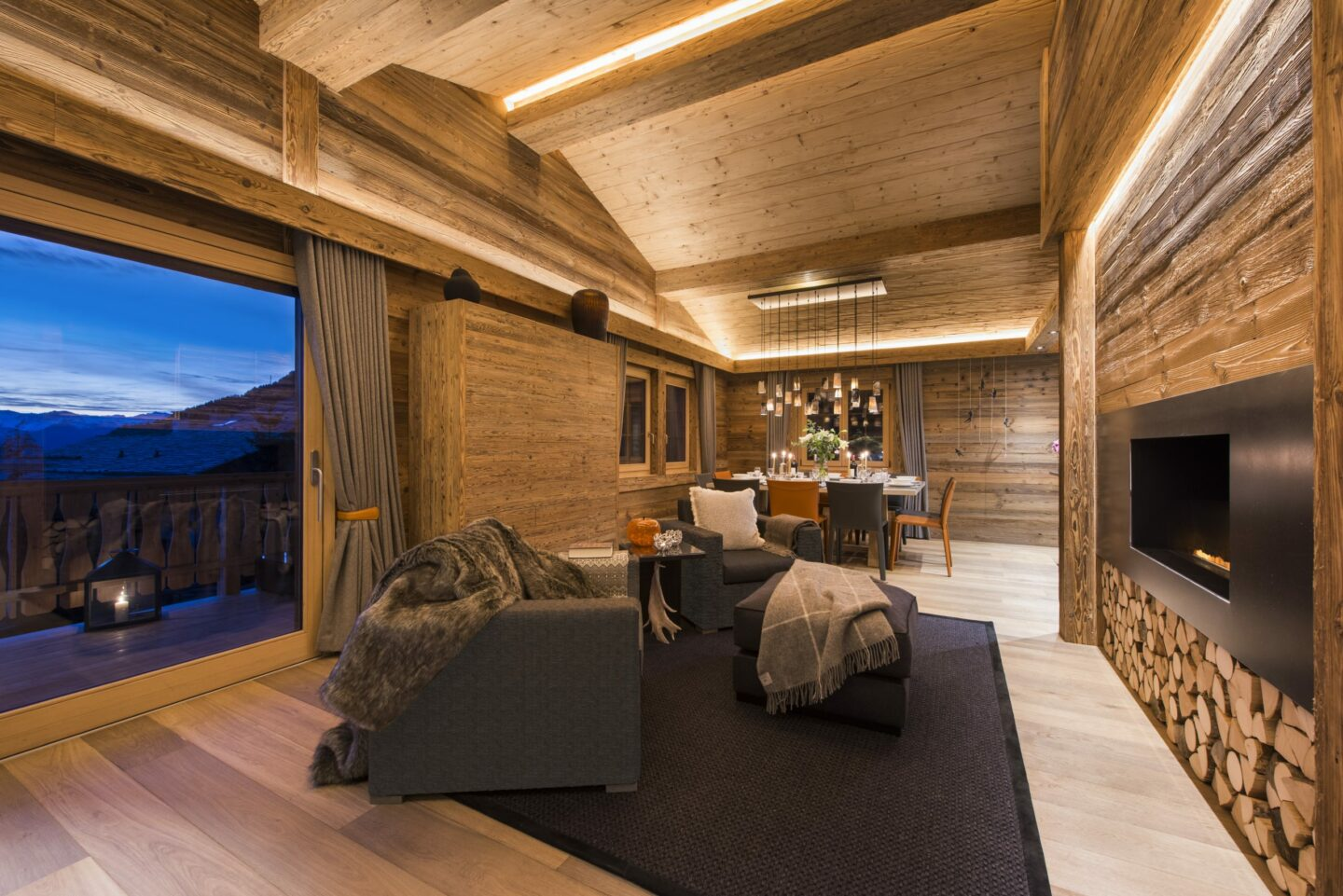 Cozy open fire at Chalet Daphne in Verbier