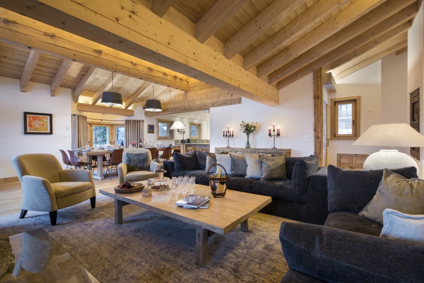Lounge room space at Chalet Delormes in Verbier