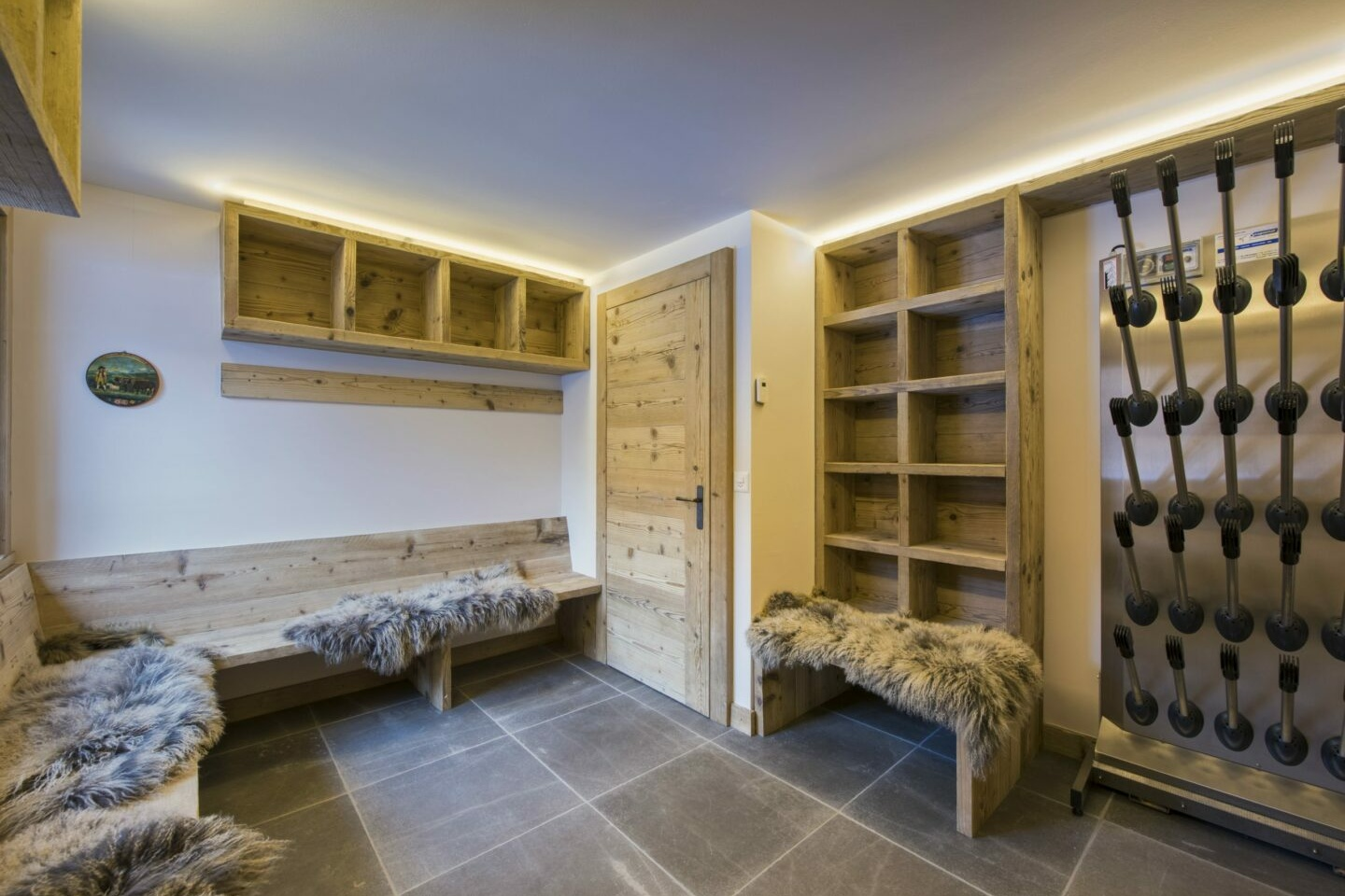 Boot room at Chalet Delormes in Verbier