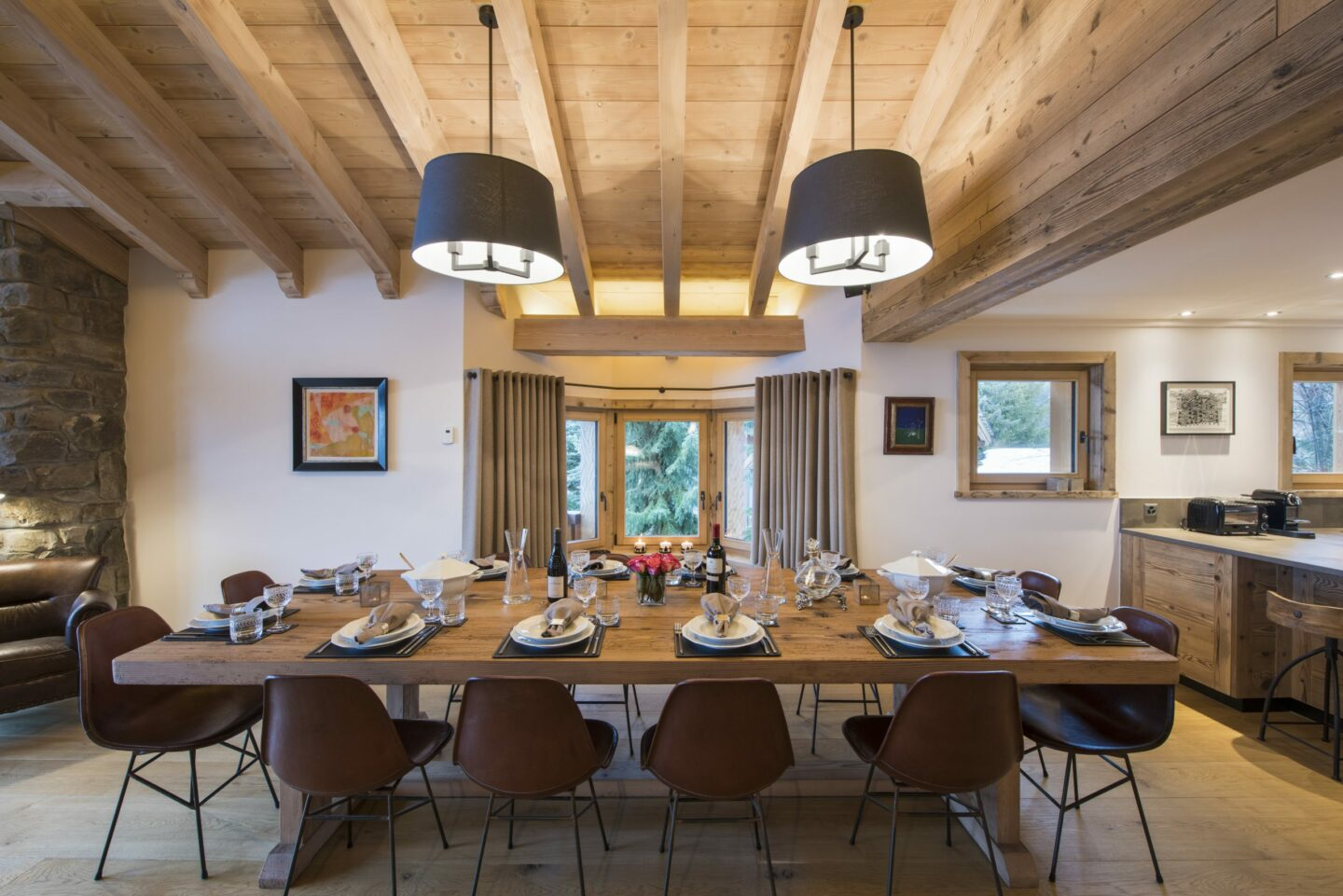 Dining space at Chalet Delormes in Verbier