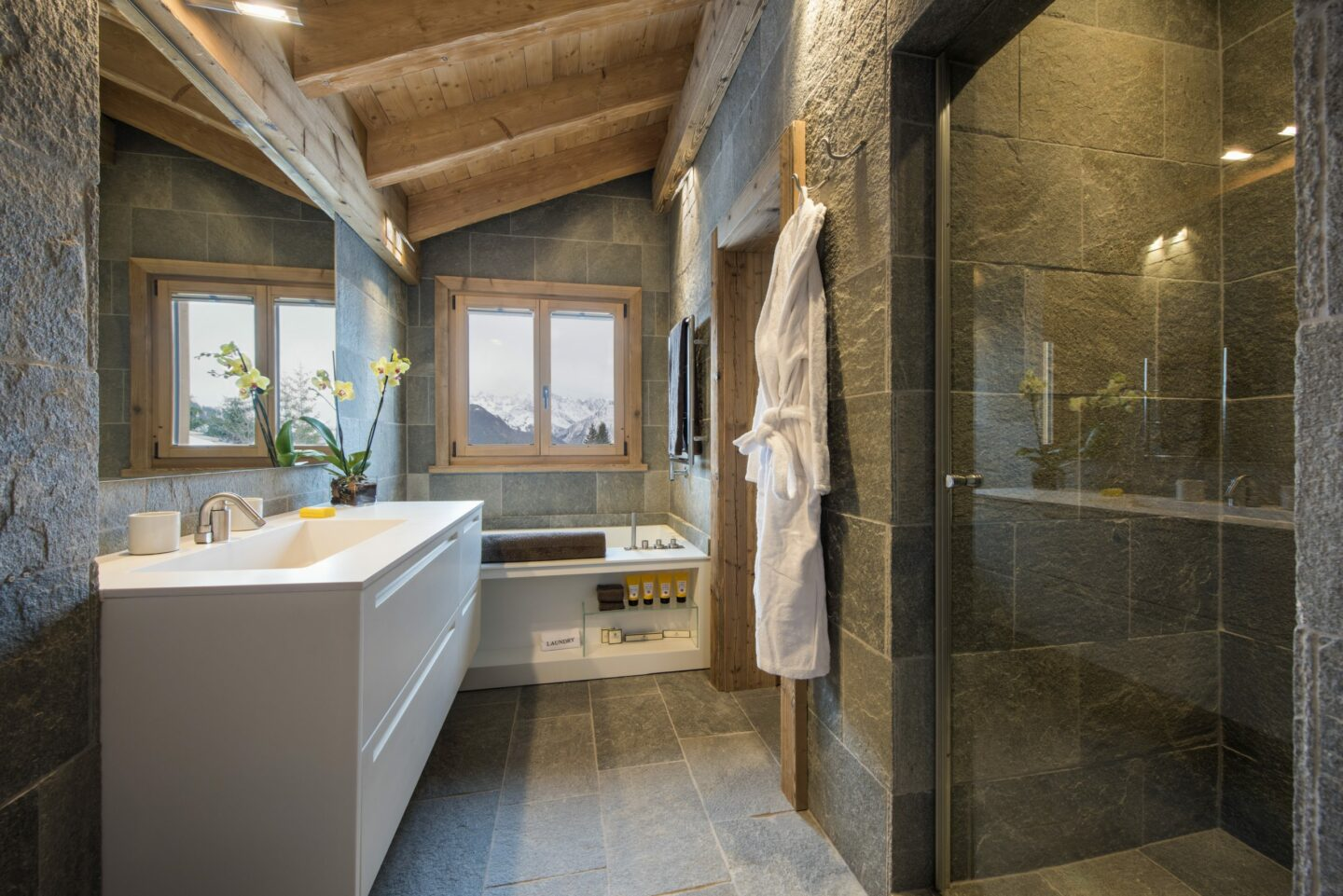 Bathroom at Chalet Delormes with shower in Verbier