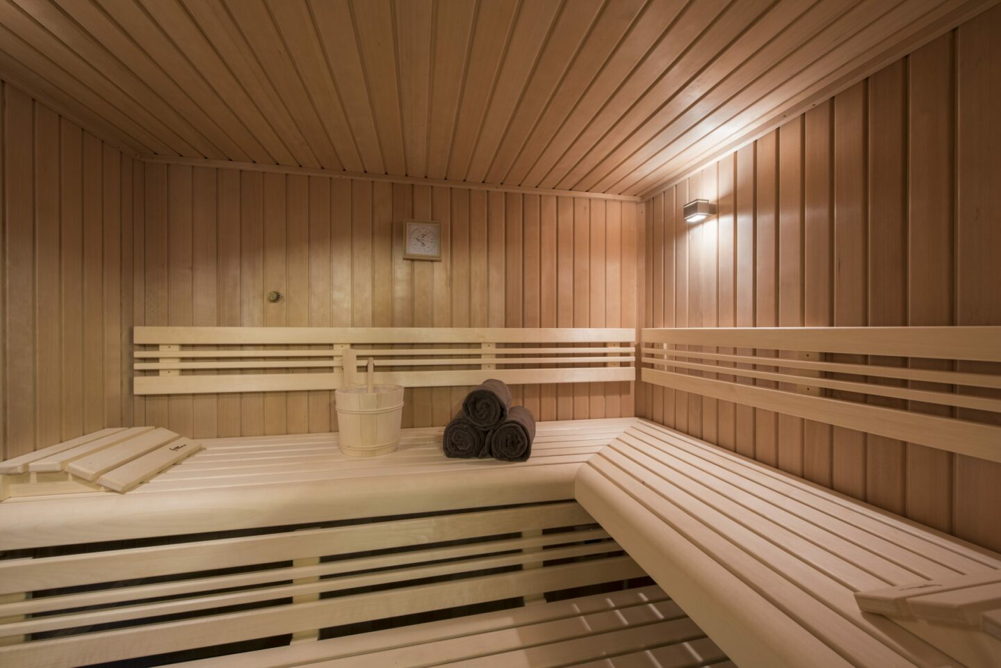 Sauna in the spa at Chalet Delormes in Verbier