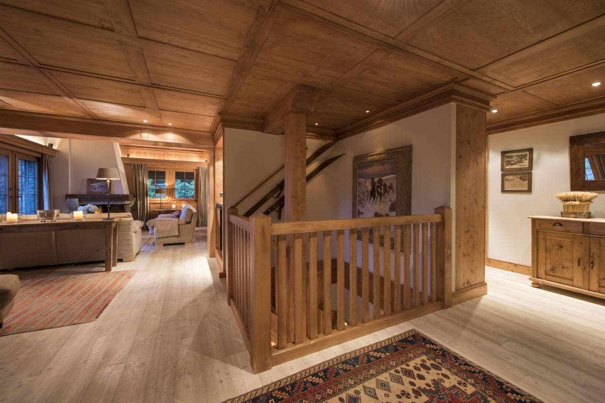 Staircase leading to top floor at Apartment Ivouette in Verbier