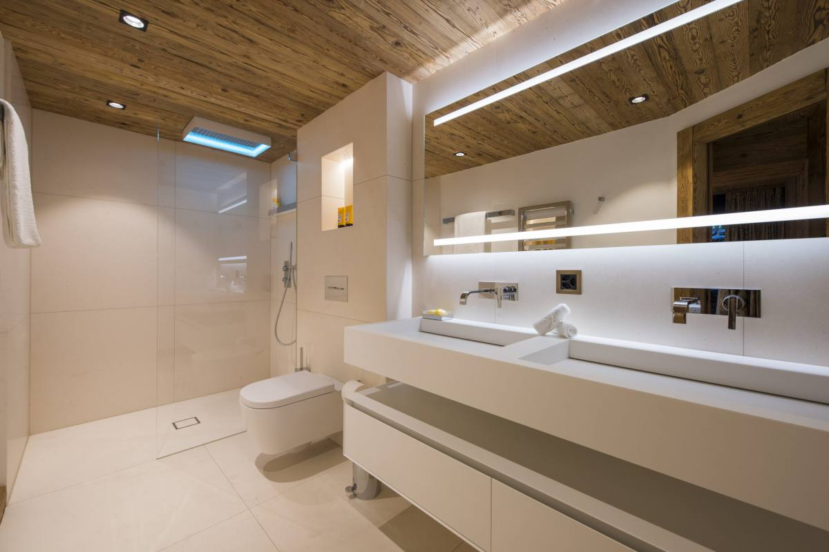 En suite shower room at Chalet La Datcha in Verbier
