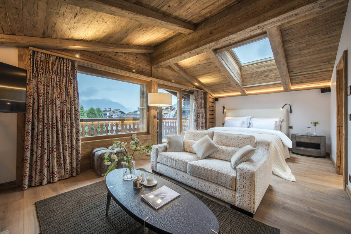 Master bedroom with skylight window at Chalet La Datcha in Verbier