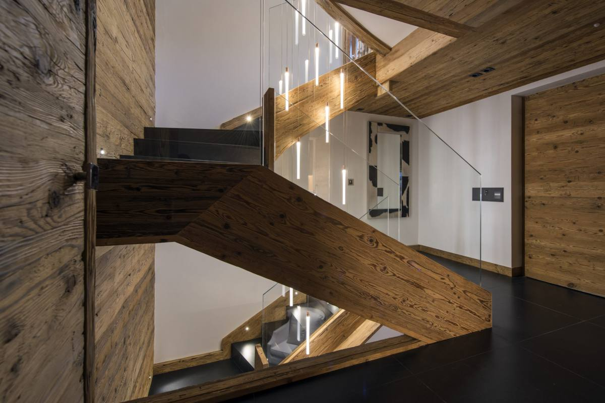 Interior staircase at Chalet La Datcha in Verbier