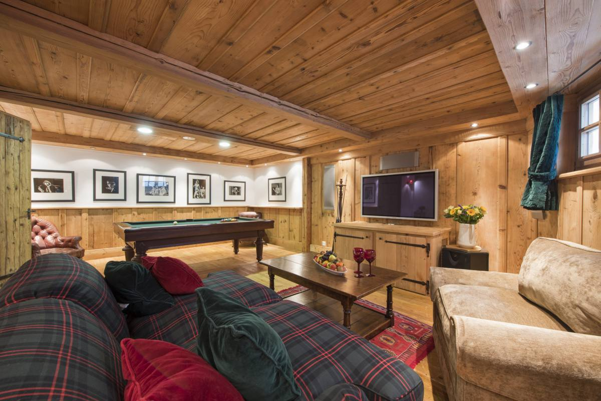 Ground floor games and TV room at Chalet Le Ti in Verbier