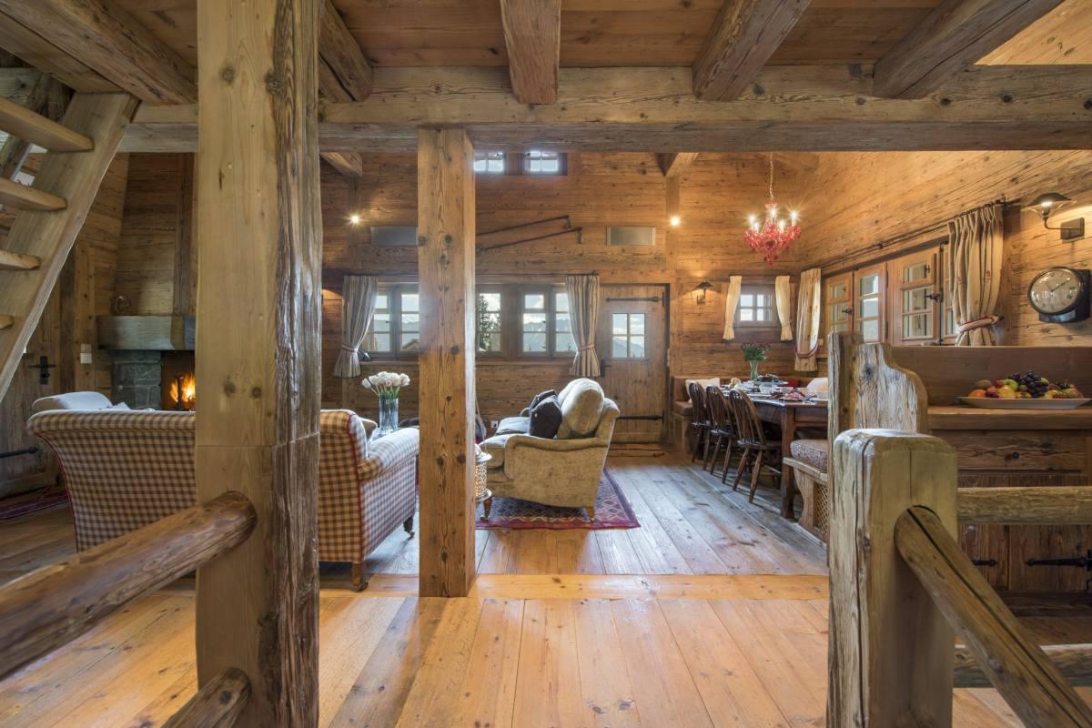 Top floor open-plan living area at Chalet Le Ti in Verbier