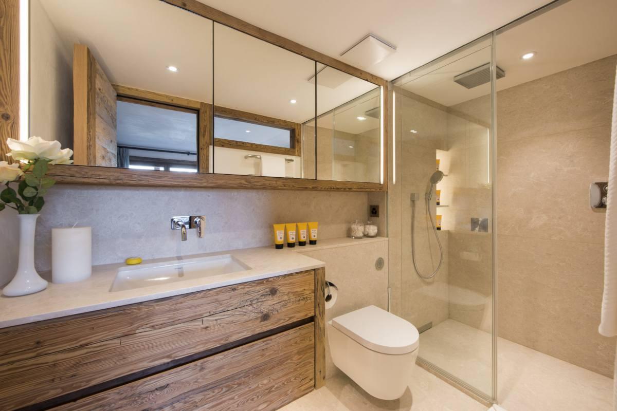 En suite shower room at Chalet Les Etrennes in Verbier