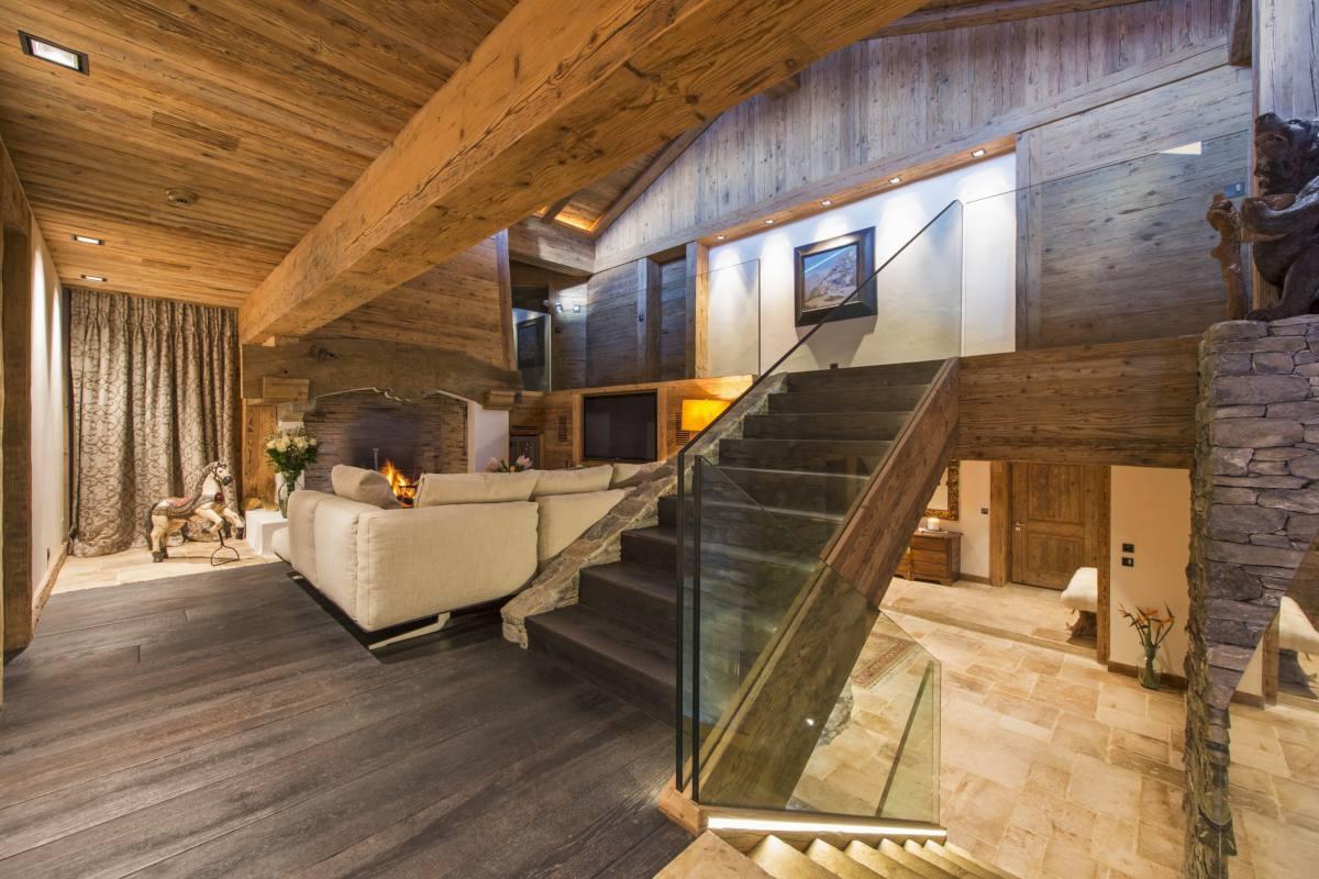 Split level living area showing TV corner at Chalet Makini in Verbier