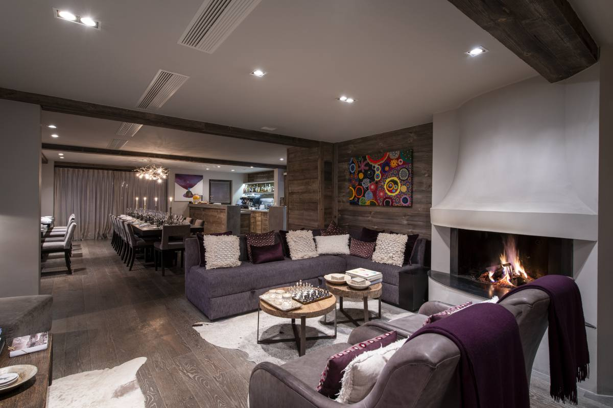 Living room with view into dining room at No. 14 Verbier