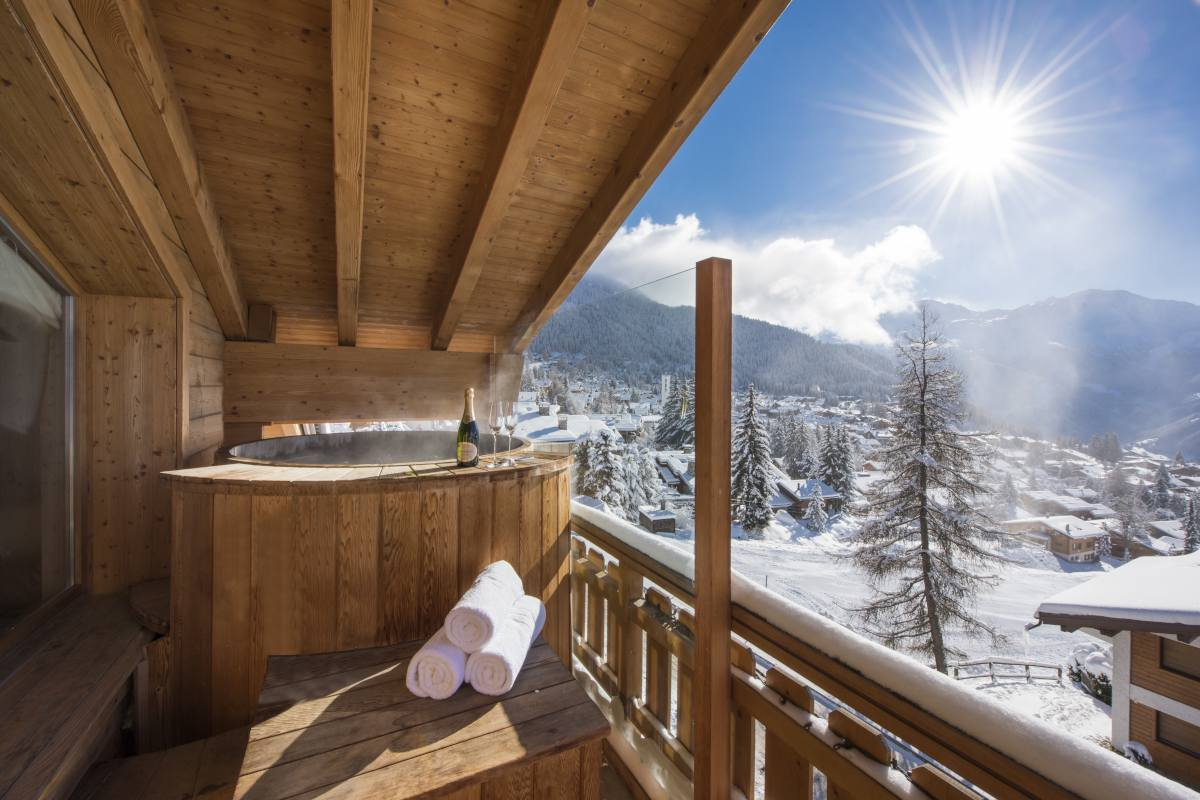 Master bedroom private balcony with hot tub at No. 14 Verbier