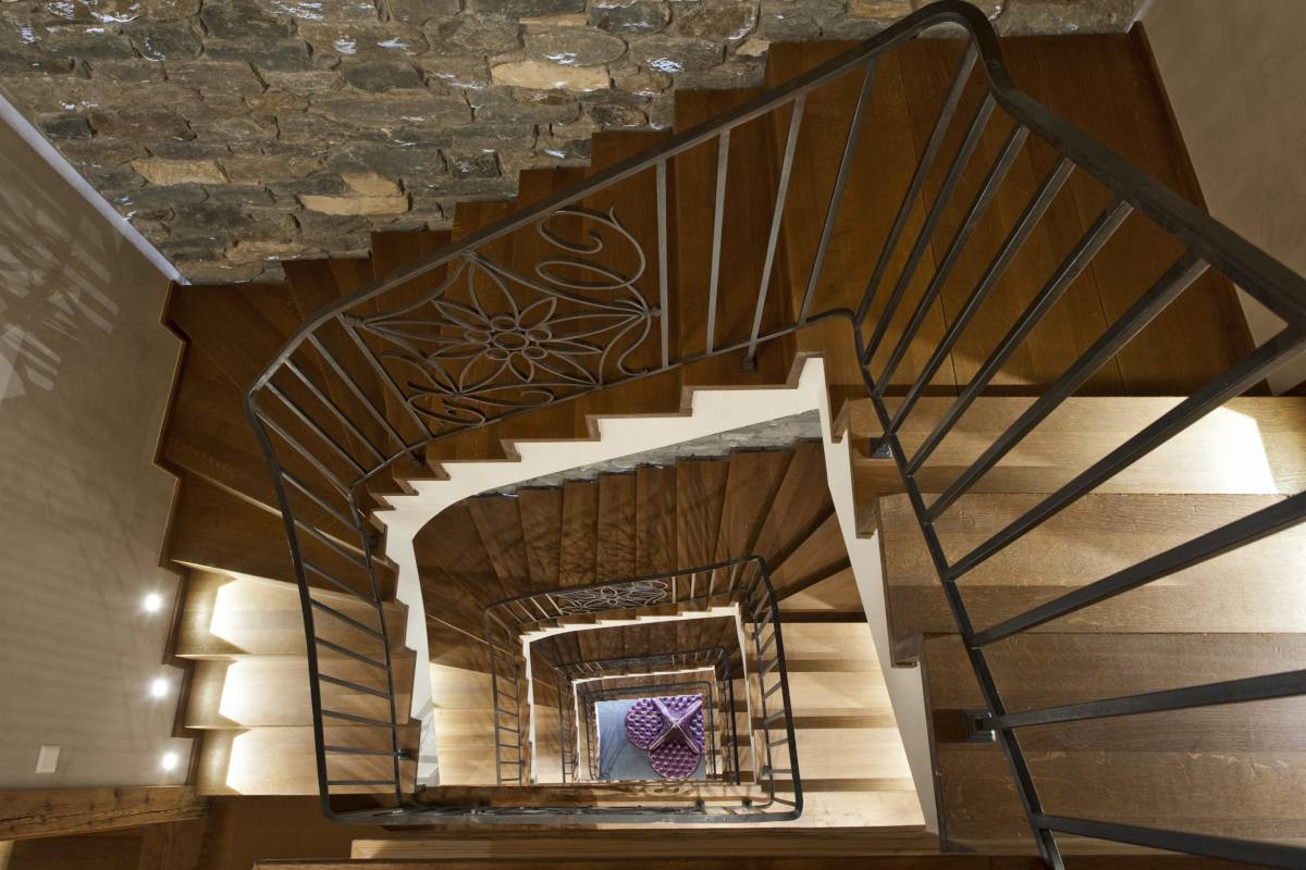 Aerial view of staircase and entrance hall at Chalet Norte in Verbier