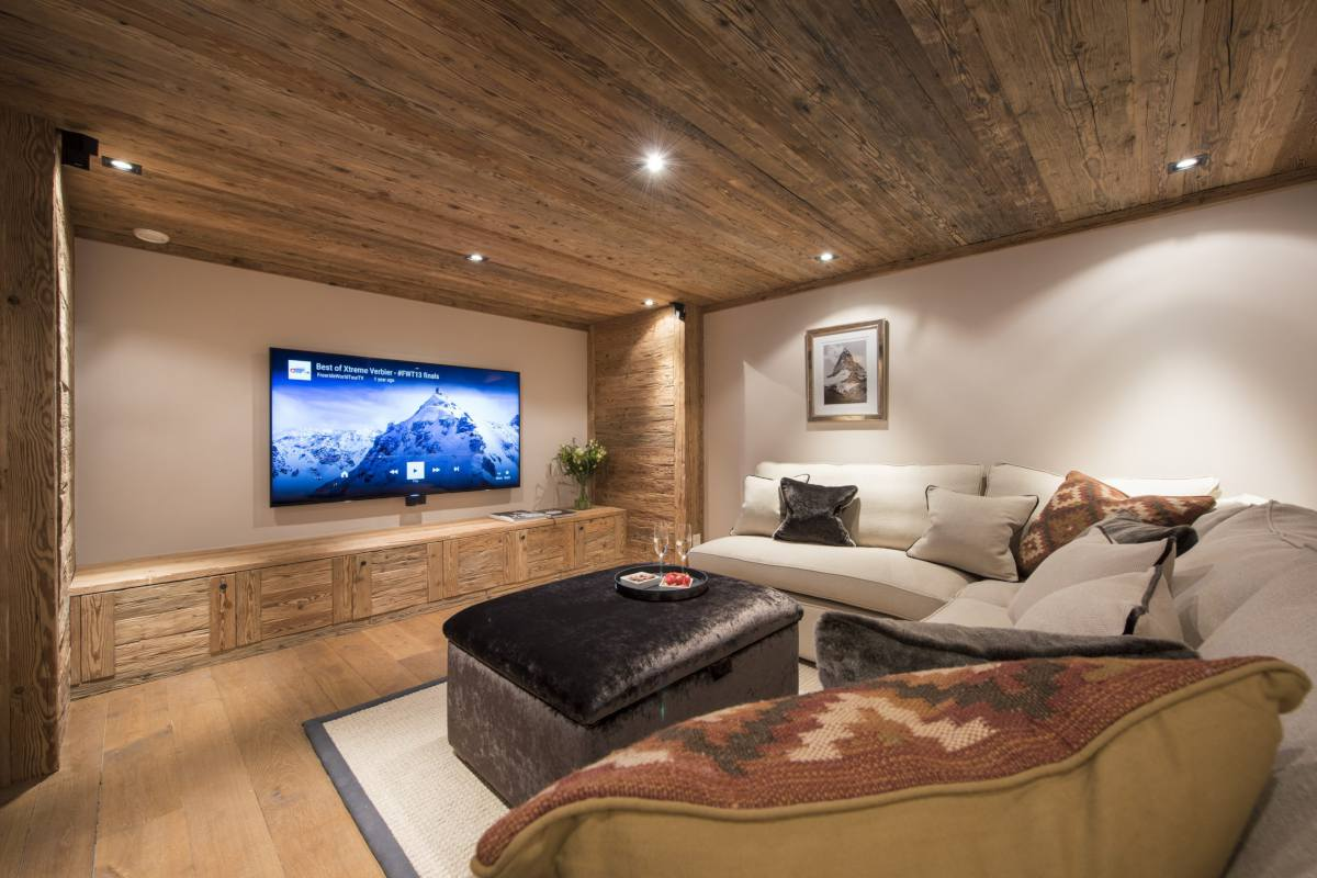 Cinema room at Chalet Sirocco in Verbier