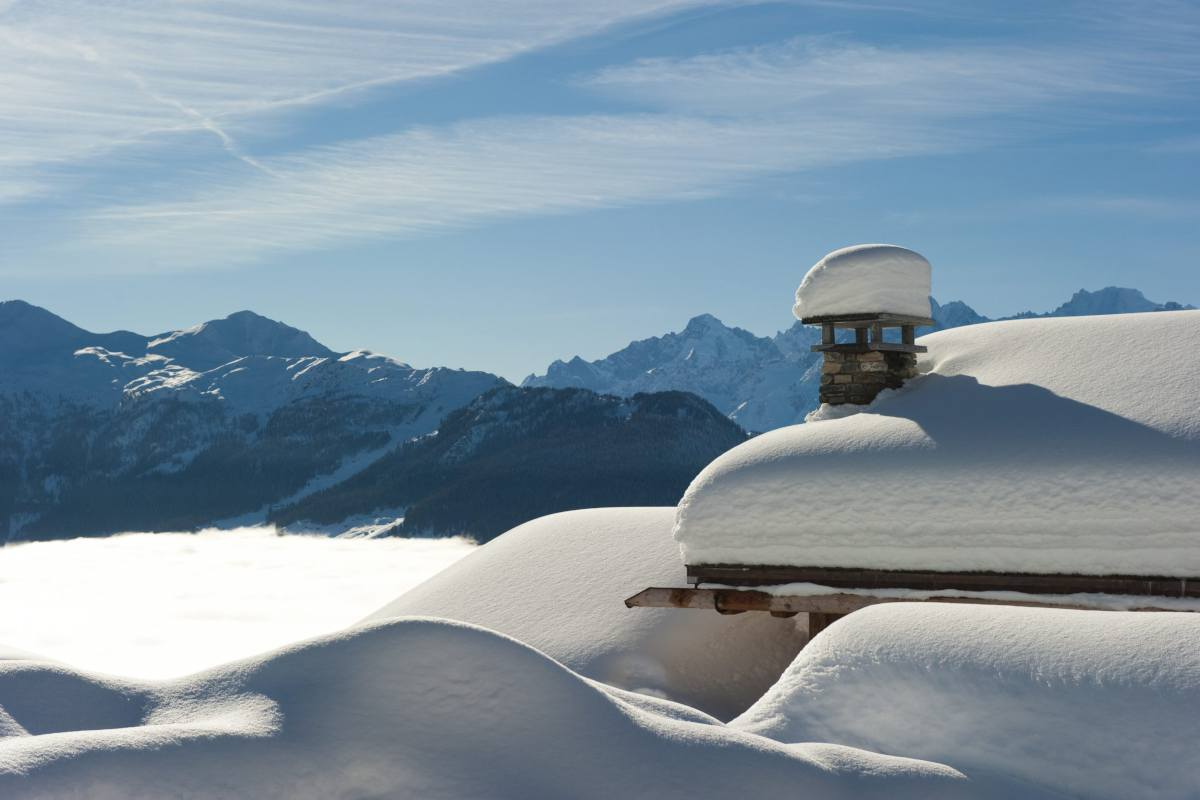 Views of the mountains in winter from Chalet Sirocco in Verbier