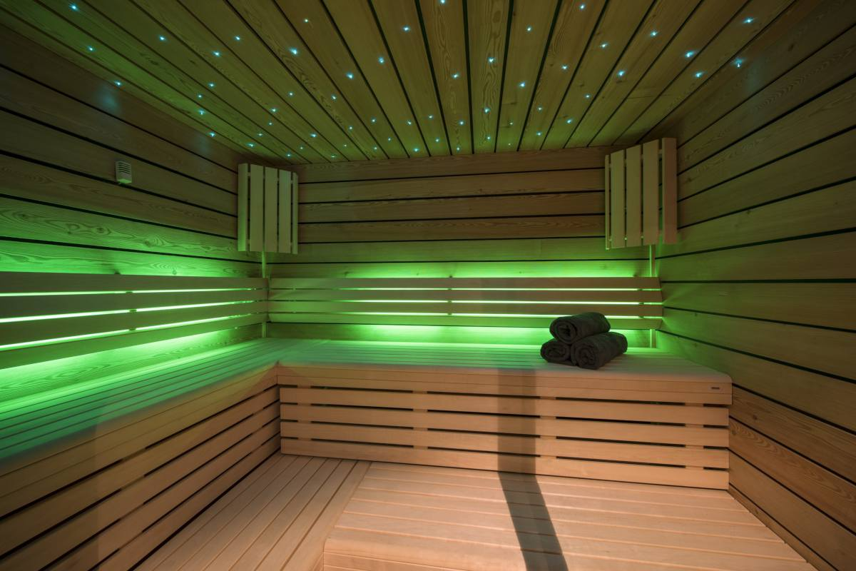 Sauna with mood lighting at Chalet Sirocco in Verbier