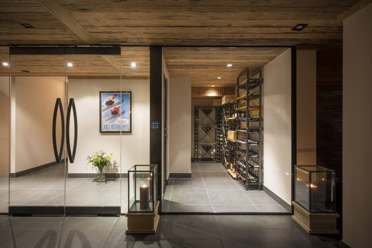 View into wine cellar at Chalet Sirocco in Verbier