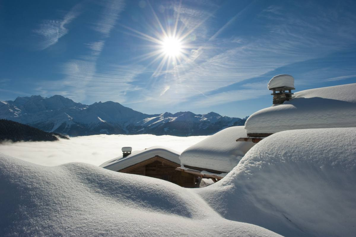 A winter landscape viewed from The Alpine Estate in Verbier