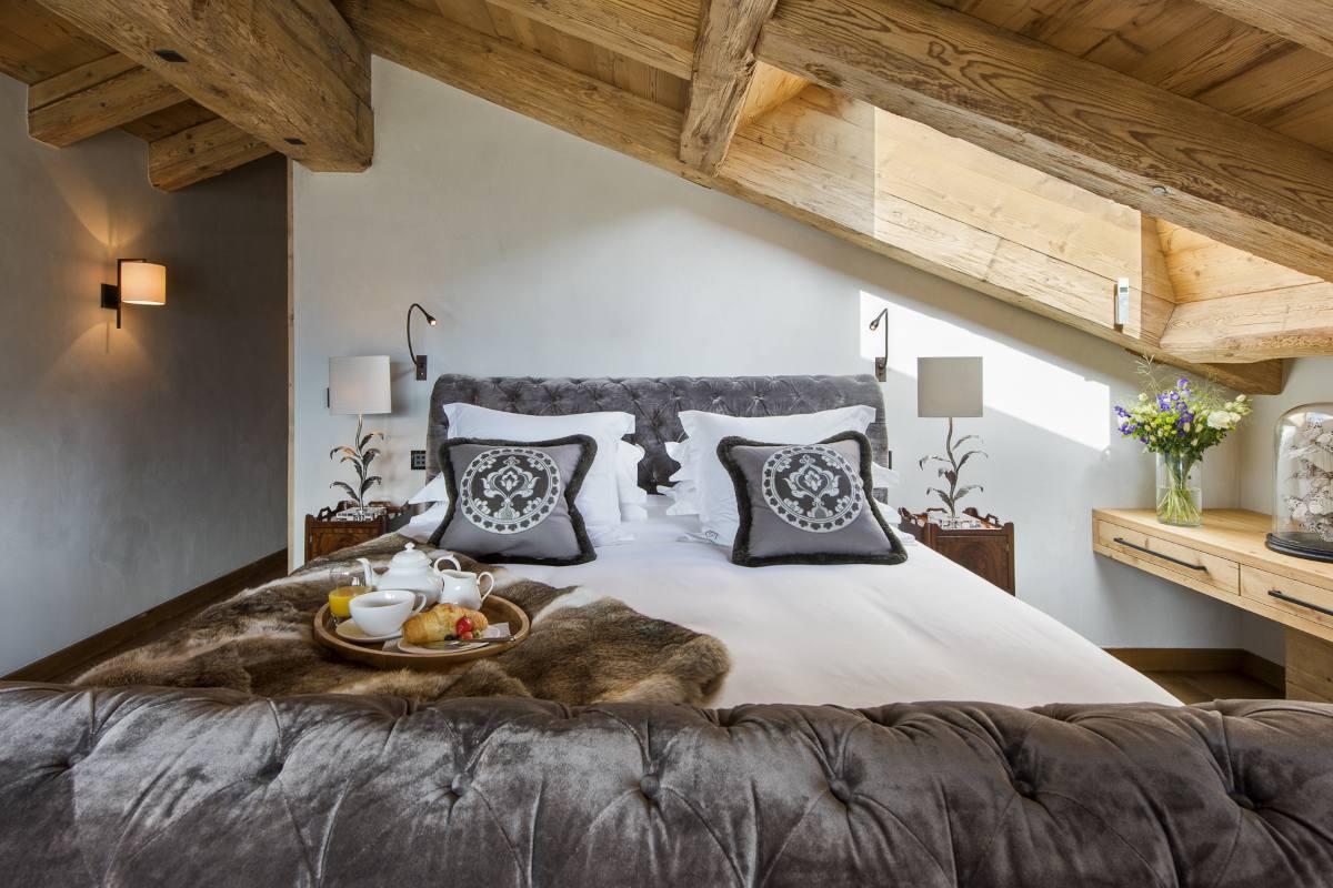 Master bedroom in Chalet Norte at The Alpine Estate in Verbier