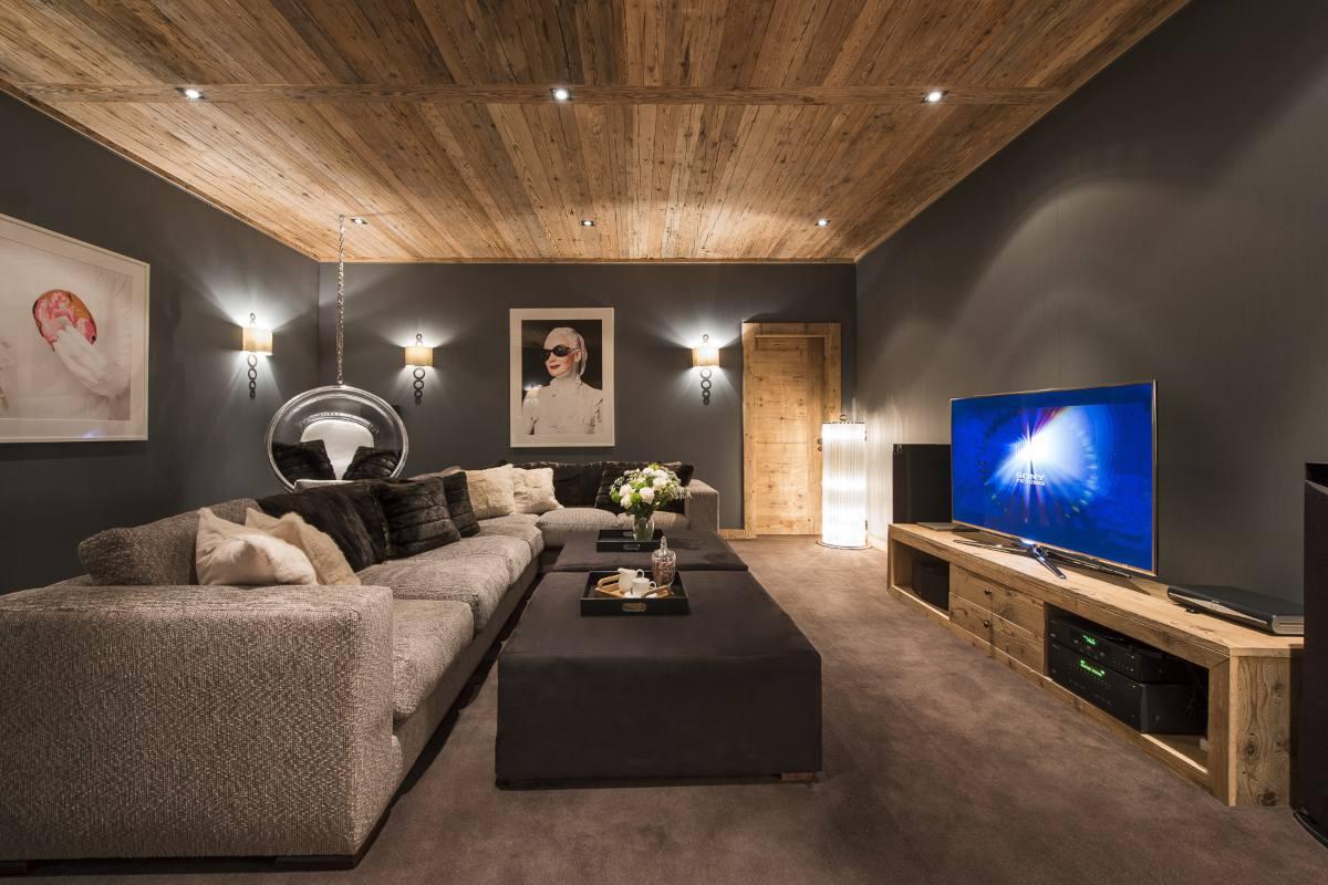 Cinema room in Chalet Norte at The Alpine Estate in Verbier
