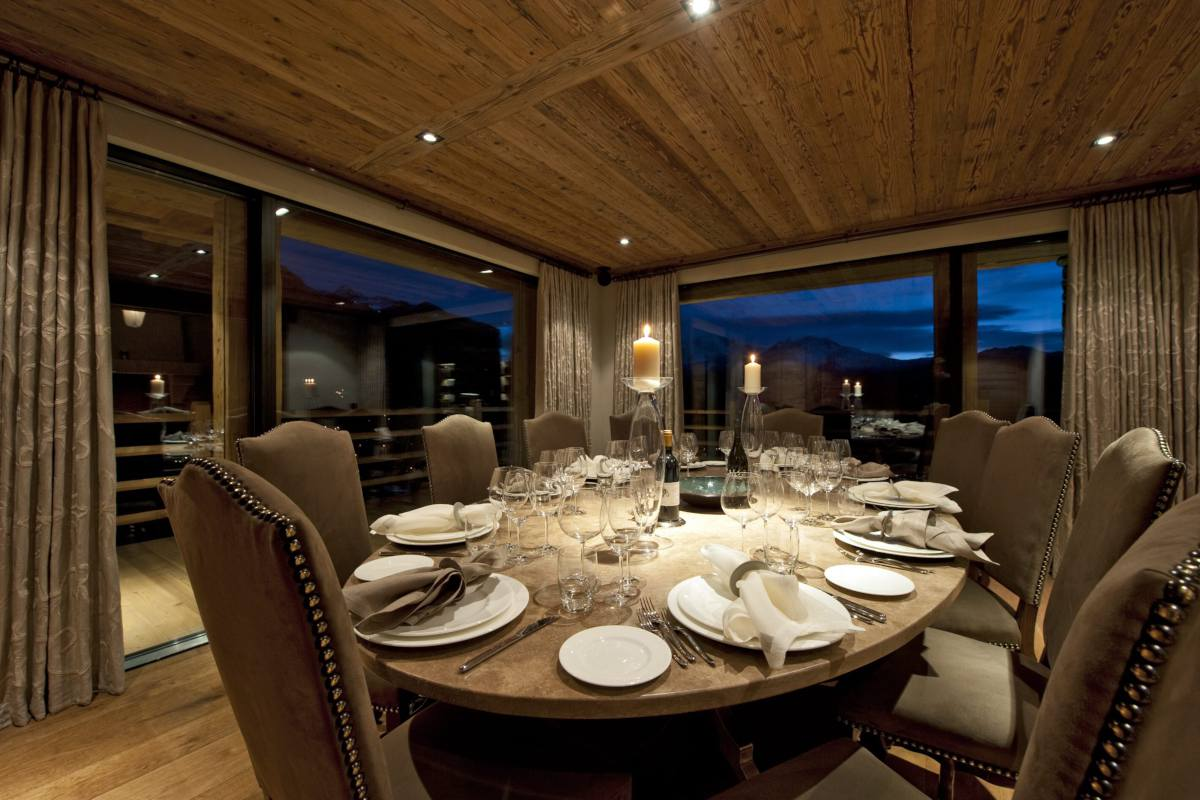 Formal dining table in Chalet Norte at The Alpine Estate in Verbier