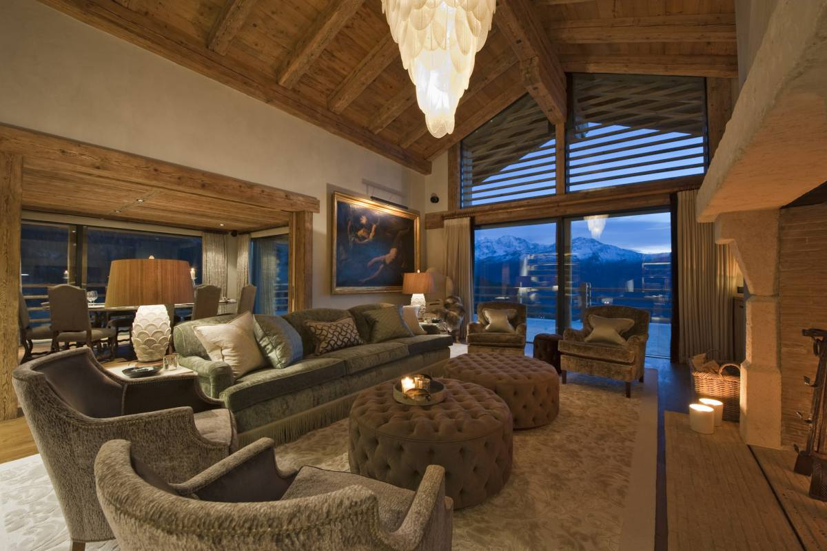 First floor living room with mountain views in Chalet Norte at The Alpine Estate in Verbier