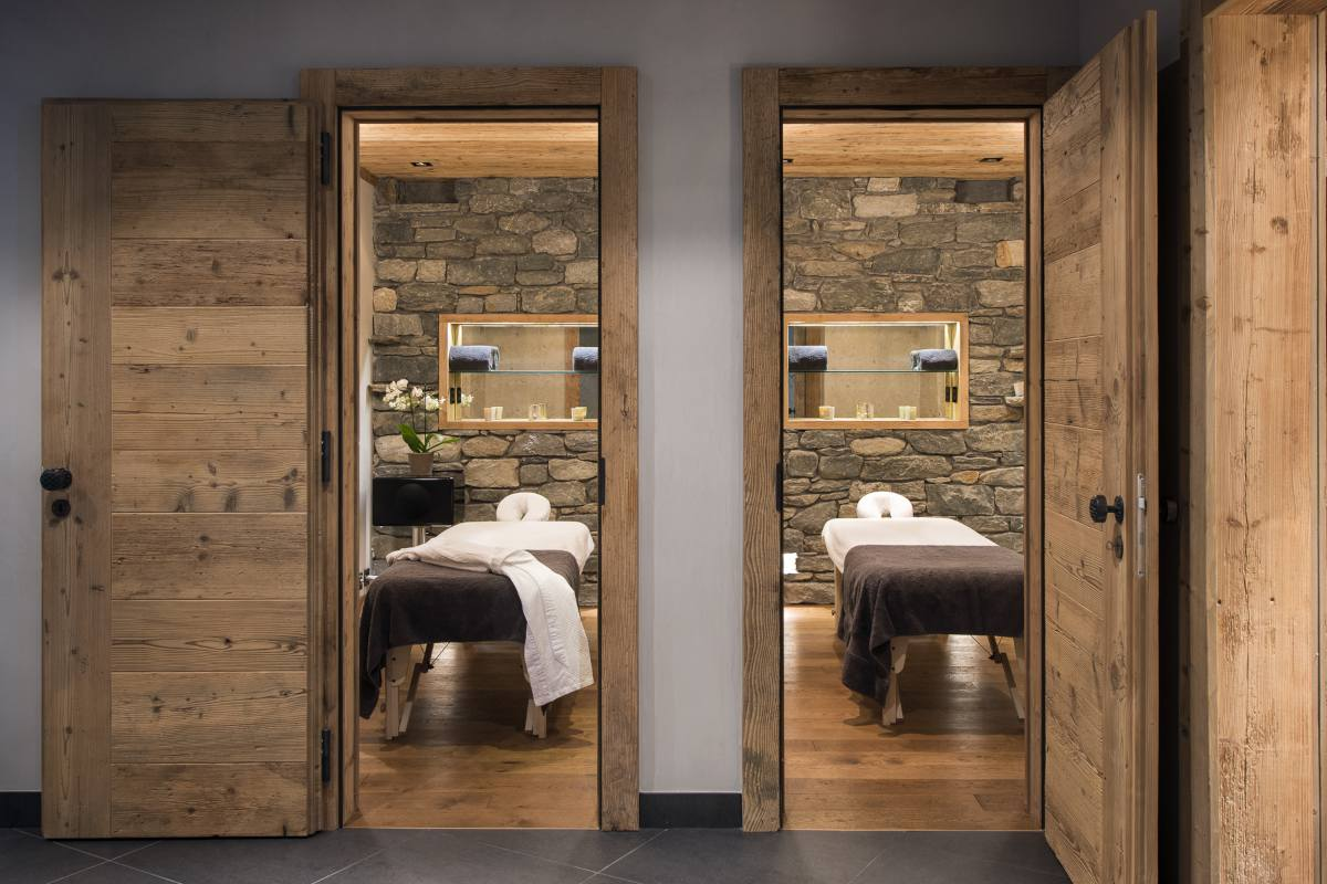 Massage rooms in spa area at The Alpine Estate in Verbier