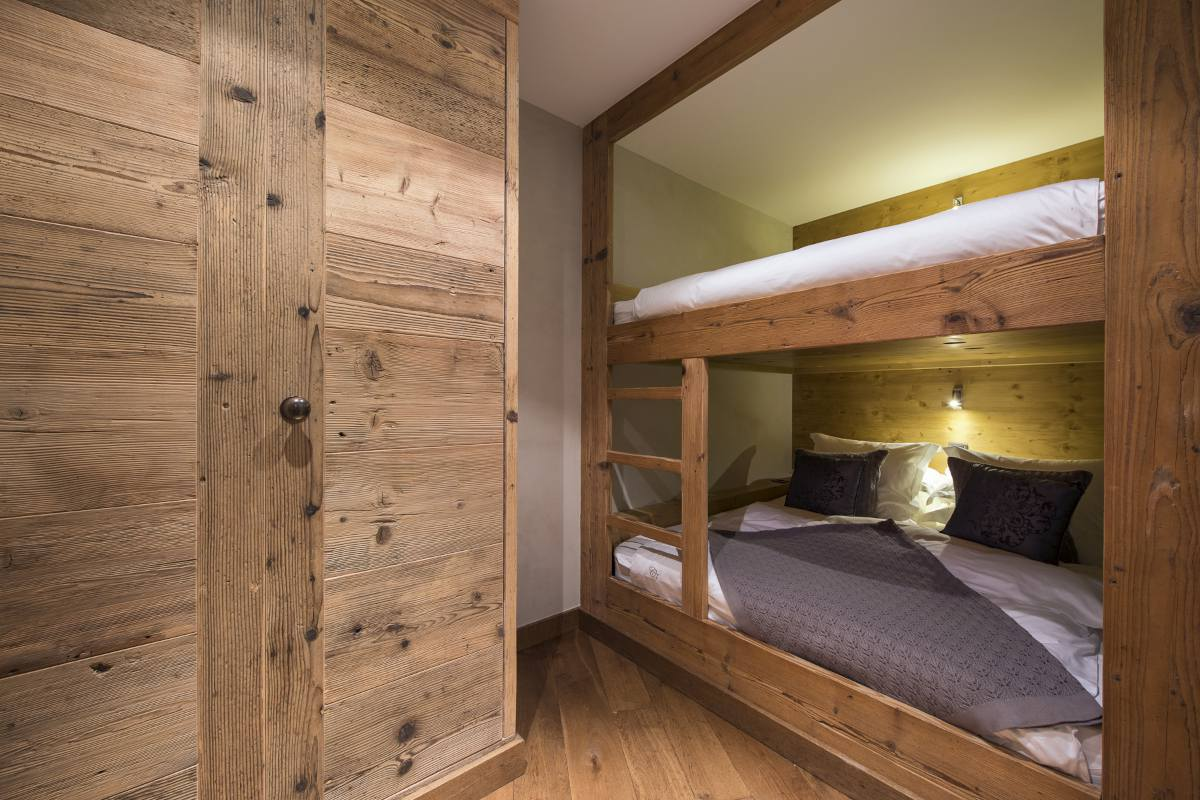 Bunk beds in the apartment in Chalet Norte at The Alpine Estate in Verbier