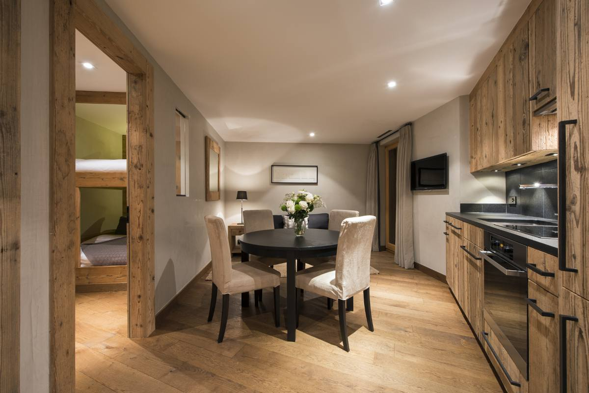 Kitchenette in small apartment in Chalet Norte at The Alpine Estate in Verbier