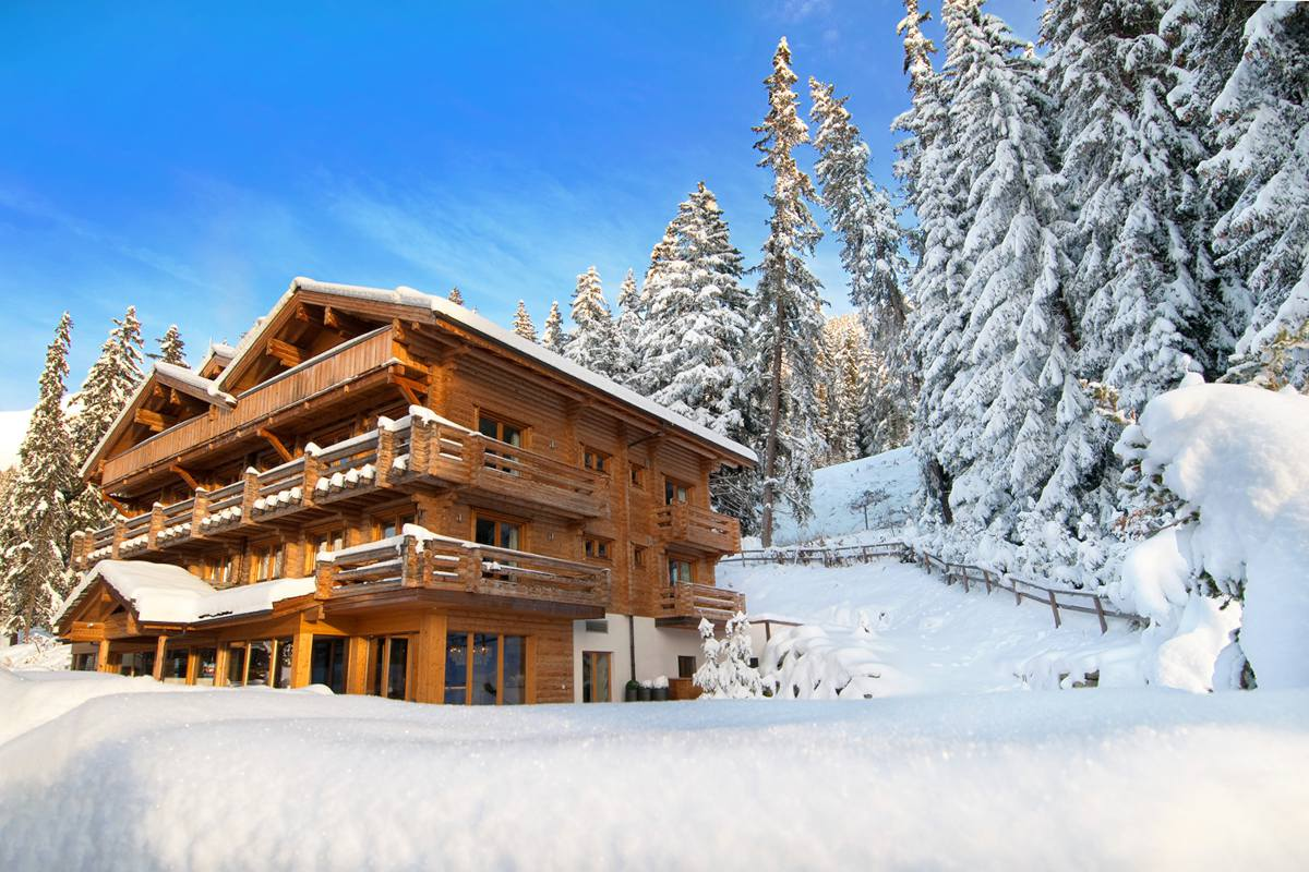 Exterior in winter at The Lodge in Verbier