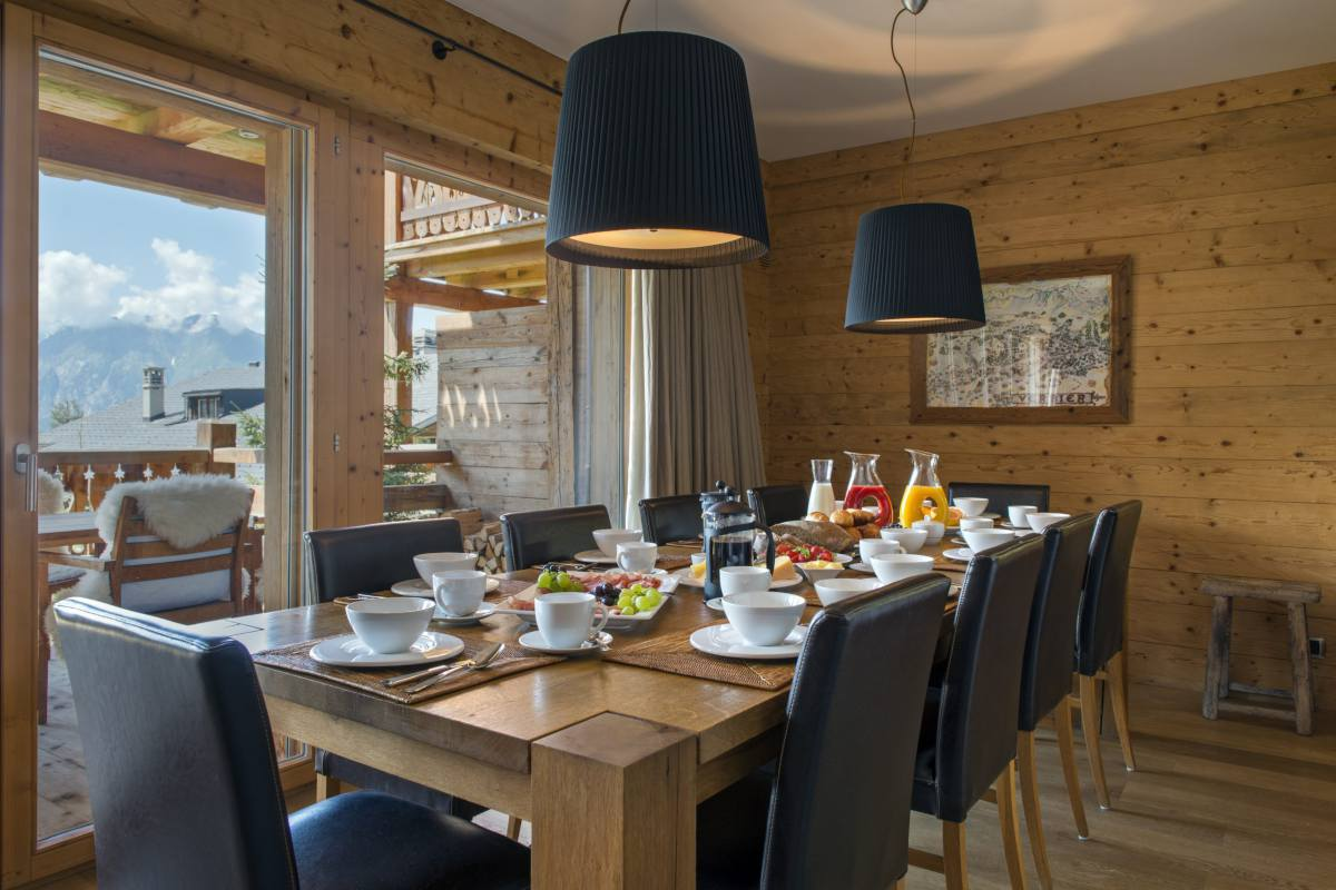 Table set for breakfast at Apartment Victoria 111 in Verbier