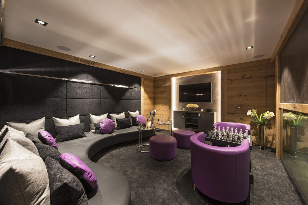 Entertainment and cinema space at Chalet Aconcagua in Zermatt