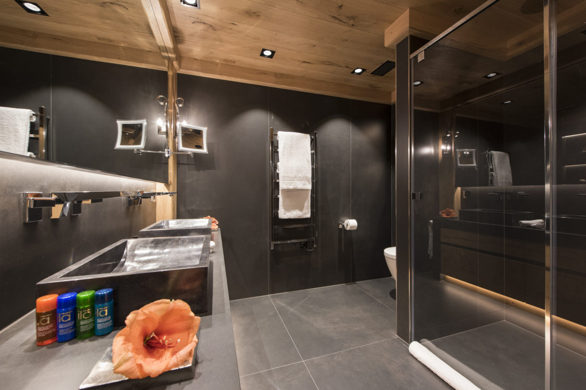 Ensuite bathroom with shower at Chalet Aconcagua in Zermatt